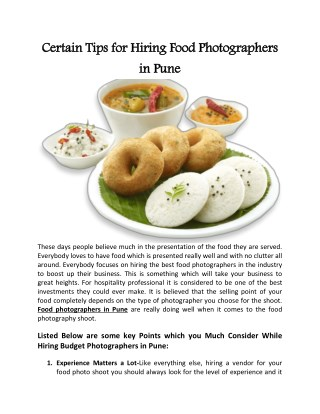 Certain Tips for Hiring Food Photographers in Pune