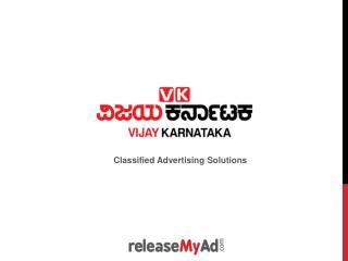 Vijay Karnataka Newspaper Advertisement Booking Online