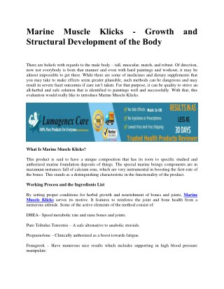 Marine Muscle Klicks - Growth and Structural Development of the Body