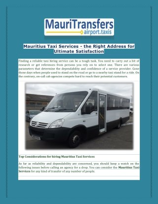 Hiring mauritius taxi services at mauritransfers.com