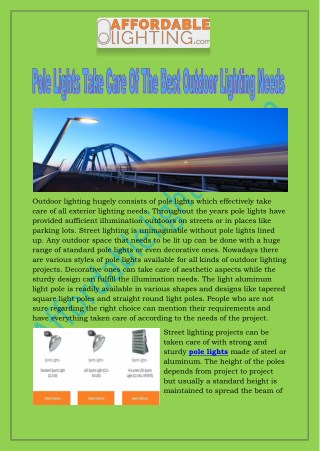 Pole Lights Take Care Of The Best Outdoor Lighting Needs