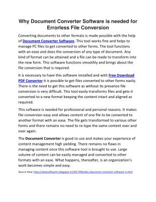 Why Document Converter Software is needed for Errorless File Conversion