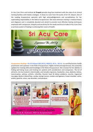 Sri Acu care Clinic- Dr Kalyani's Acupuncture Treatment in Tirupati