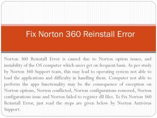 (1800) (431) (268) Fix Norton 360 Reinstall Error