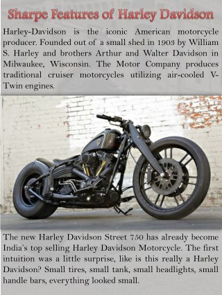Sharpe Features of Harley Davidson