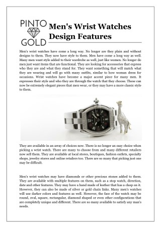 Men's Wrist Watches Design Features