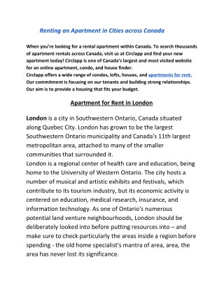 Renting an Apartmentin Cities across Canada