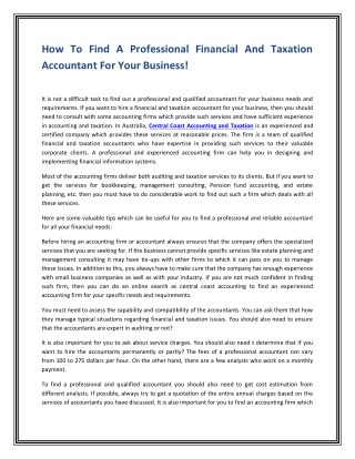 How To Find A Professional Financial And Taxation Accountant For Your Business!