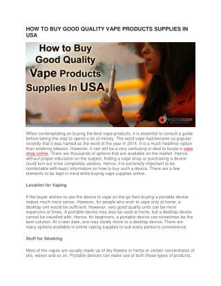 HOW TO BUY GOOD QUALITY VAPE PRODUCTS SUPPLIES IN USA