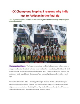 ICC Champions Trophy: 5 reasons why India lost to Pakistan in the final tie
