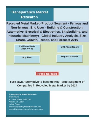 Recycled Metal Market  - Global Industry Analysis, Size, Share, Growth, Trends, and Forecast 2016 – 2024