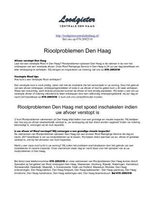 Loodgieter Centrale Den Haag