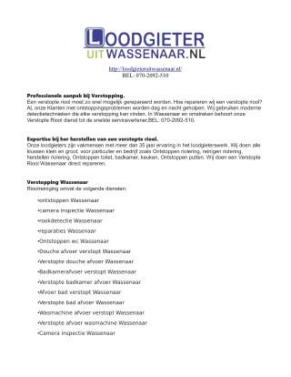 Loodgieter Uit Wassenaar