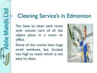 Cleaning Service's In Edmonton