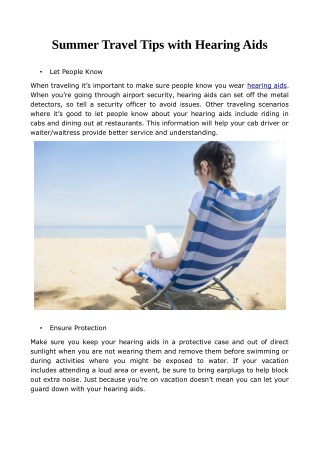 Summer Travel Tips with Hearing Aids