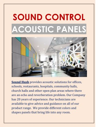 Sound Hush | sound control | acoustic panels