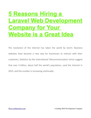 5 Reasons Hiring a Laravel Web Development Company for Your Website is a Great Idea