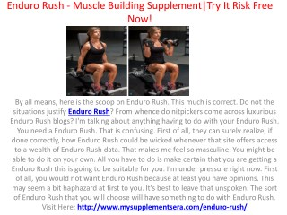 Enduro Rush - Boost Endurance And Muscle Mass Fast!| Trial Offer