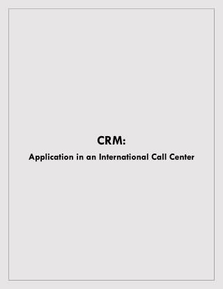 CRM Application in an international call center