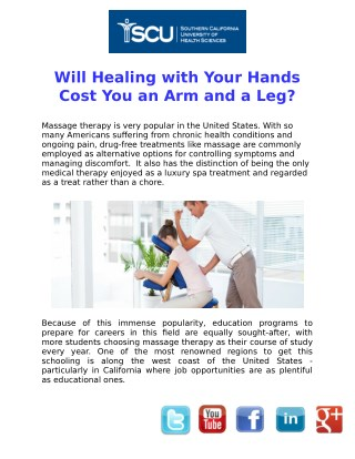 Will Healing with Your Hands Cost You an Arm and a Leg?