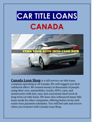 Collateral car title loans Canada