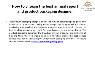 How To Choose The Best Annual Report And Product Packaging Designer