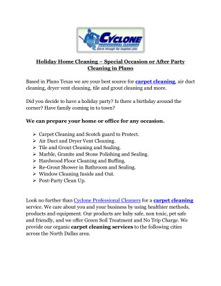 Holiday Home Cleaning – Special Occasion or After Party Cleaning in Plano