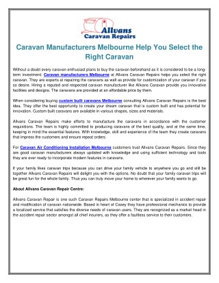 Caravan Manufacturers Melbourne Help You Select the Right Caravan