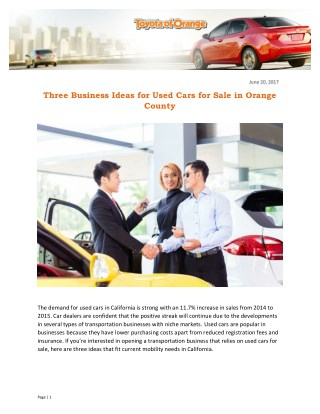 Three Business Ideas for Used Cars for Sale in Orange County