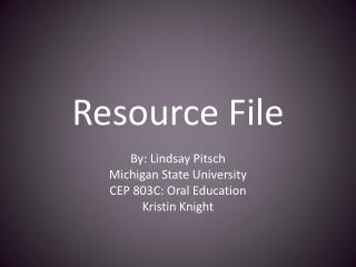 Resource File