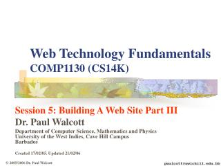 Session 5: Building a Web Site: Part III