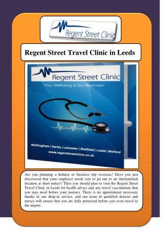 Regent Street Travel Clinic in Leeds
