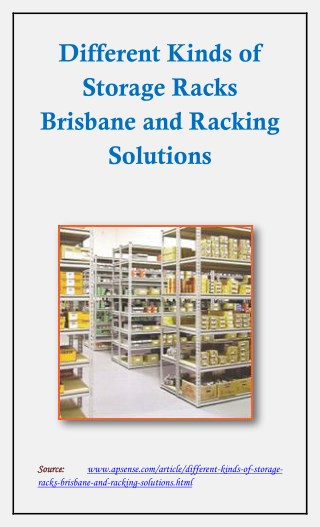 Different Kinds of Storage Racks Brisbane and Racking Solutions