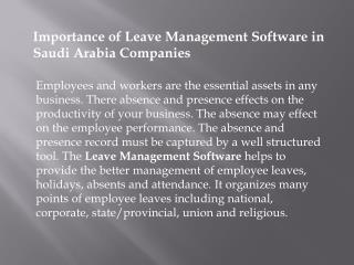 Leave Management Software in Saudi Arabia