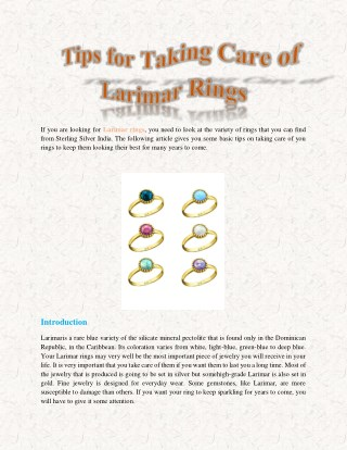 Tips for Taking Care of Larimar Rings