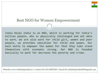 India Helps India is a Best NGO for Women Empowerment in Delhi