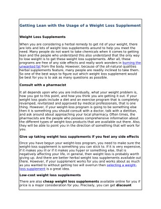 Getting Lean with the Usage of a Weight Loss Supplement