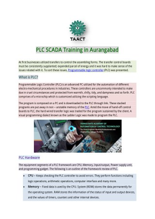 PLC SCADA Training in Aurangabad