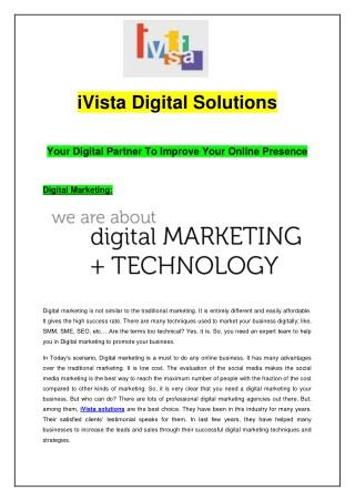 iVista Digital Solutions - Your Digital Partner To Improve Your Online Presence