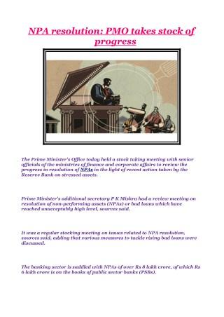 NPA resolution: PMO takes stock of progress