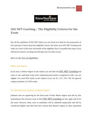 UGC NET Coaching – The Eligibility Criteria for the Exam