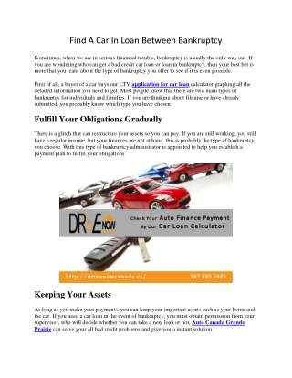 Find A Car In Loan Between Bankruptcy