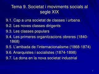 Tema 9. Societat i moviments socials al segle XIX