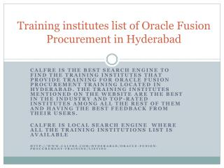 Oracle Fusion Procurement Training in Hyderabad
