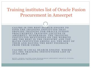 Training for Oracle Fusion Procurement in Ameerpet