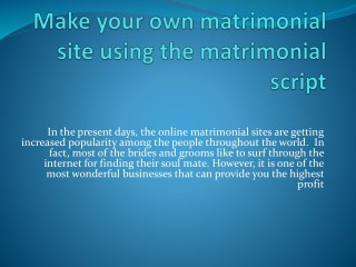 Make your own matrimonial site using the matrimonial