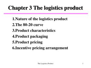 Chapter 3 The logistics product