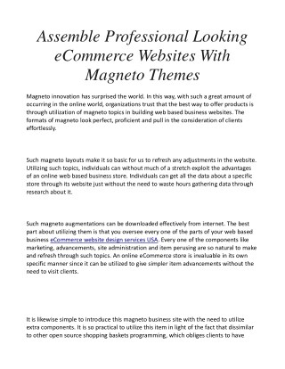 Assemble Professional Looking eCommerce Websites