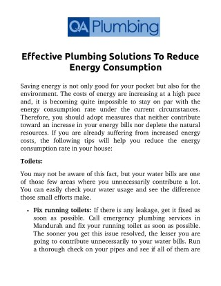 Effective Plumbing Solutions To Reduce Energy Consumption