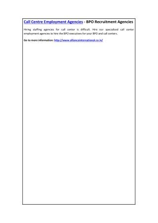 Call Centre Employment Agencies - BPO Recruitment Agencies
